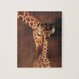 Jirafa adulta con el becerro (camelopardalis del G Puzzles Con Fotos