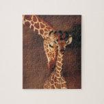 Jirafa adulta con el becerro (camelopardalis del puzzles con fotos