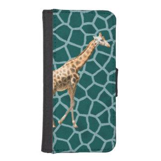 Jirafa africana en camuflaje azul funda billetera para teléfono