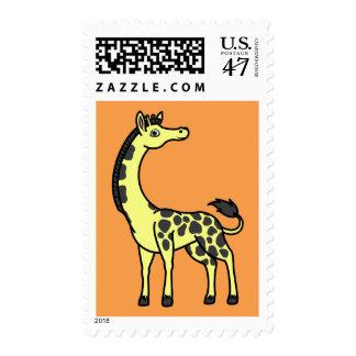 Jirafa amarilla con los puntos negros timbre postal