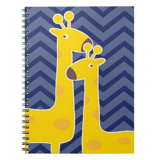 Jirafa amarilla en el galón del zigzag - azul libros de apuntes con espiral