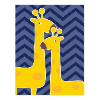 Jirafa amarilla en el galón del zigzag - azul tarjetas postales