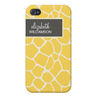 Jirafa amarilla limón Pern iPhone 4 Funda
