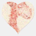 Jirafa artsy anaranjada pegatina en forma de corazón