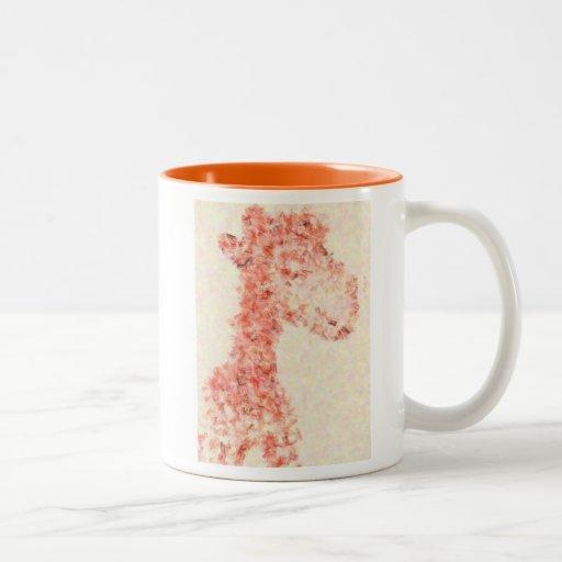 Jirafa artsy anaranjada taza dos tonos