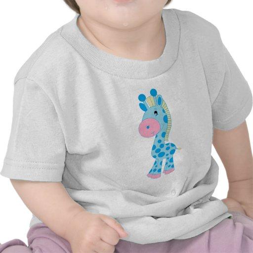 Jirafa azul y rosada del bebé del dibujo animado camiseta