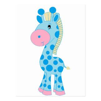 Jirafa azul y rosada del bebé del dibujo animado postales