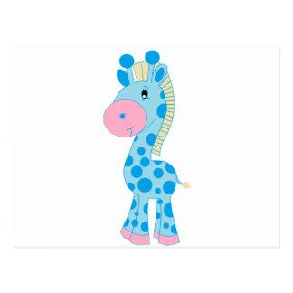 Jirafa azul y rosada del bebé del dibujo animado postal