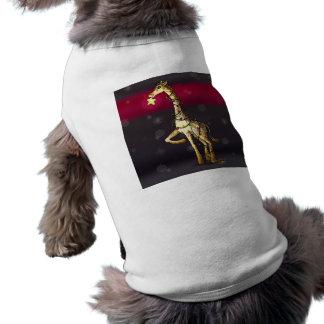 Jirafa brillante playera sin mangas para perro