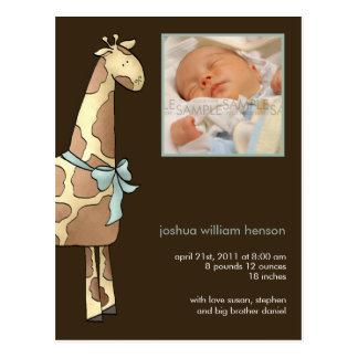 Jirafa Brown azul • Invitación del nacimiento Tarjeta Postal