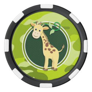 Jirafa; camo verde claro, camuflaje juego de fichas de póquer