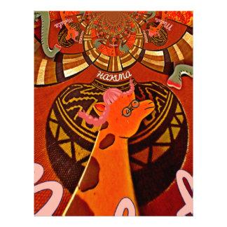 Jirafa con arte de dos colas de caballo membrete