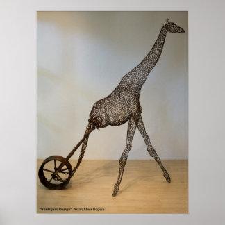 Jirafa con el poster de la rueda - Ellen Rogers Póster