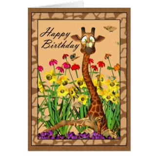 Jirafa con la mariposa en la tarjeta de cumpleaños