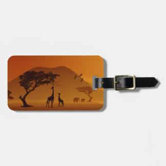 jirafa con su estilo del safari del bebé etiquetas para equipaje