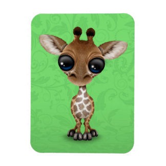 Jirafa curiosa linda del bebé en verde imanes flexibles