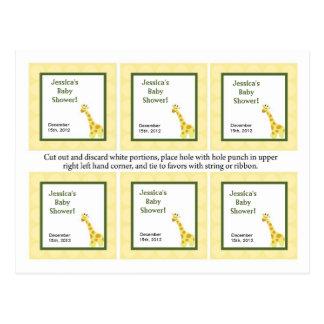Jirafa de 6 del favor de las etiquetas bebés de la tarjetas postales