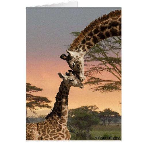 Jirafa de la madre y del bebé tarjeta de felicitación