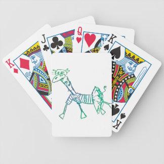 Jirafa de la tiza en un tutú baraja cartas de poker