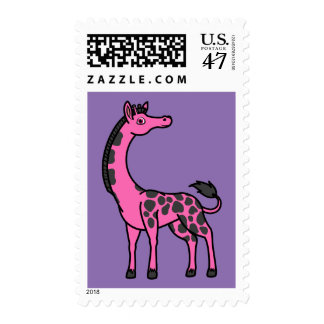 Jirafa de las rosas fuertes con los puntos negros timbres postales