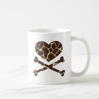 jirafa de los huesos del corazón y de la cruz taza