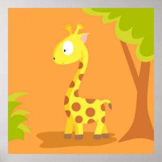 Jirafa de mi serie de los animales del mundo póster