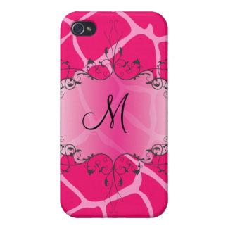 Jirafa de PixDezines, rosa fuerte iPhone 4 Protector
