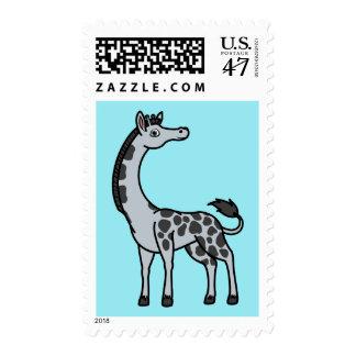 Jirafa de plata con los puntos negros timbres postales