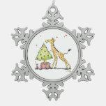 Jirafa del árbol de navidad adorno