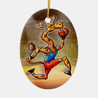 Jirafa del baloncesto adorno navideño ovalado de cerámica