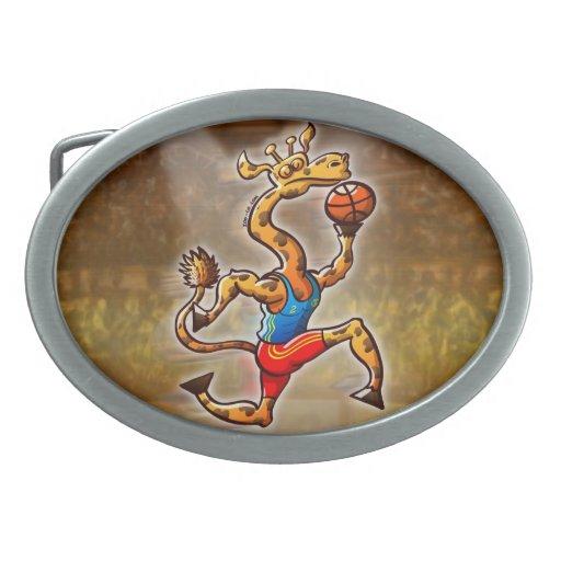 Jirafa del baloncesto hebillas cinturón ovales