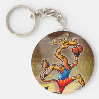 Jirafa del baloncesto llavero redondo tipo pin