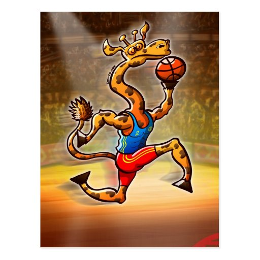 Jirafa del baloncesto tarjeta postal