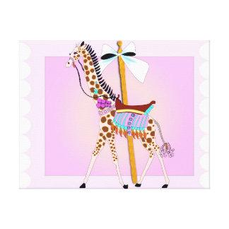 Jirafa del carrusel impresión en lienzo