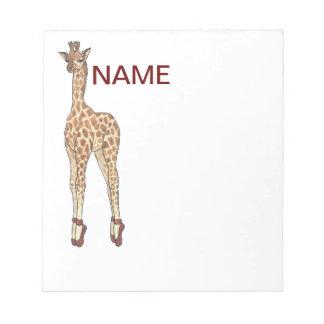 jirafa del dedo del pie de la extremidad libreta para notas