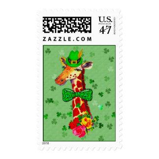 Jirafa del día de St Patrick Sellos Postales