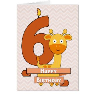 Jirafa del dibujo animado para el cumpleaños del tarjeta de felicitación