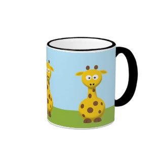 Jirafa del dibujo animado taza a dos colores