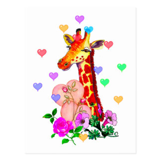 Jirafa del el día de San Valentín Tarjeta Postal