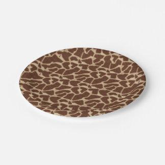 Jirafa del estampado de animales plato de papel de 7 pulgadas
