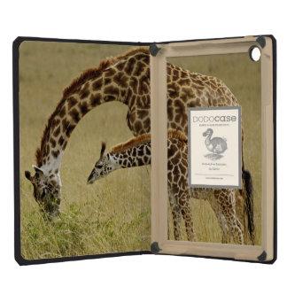 Jirafa del Masai de la madre y del bebé Giraffa