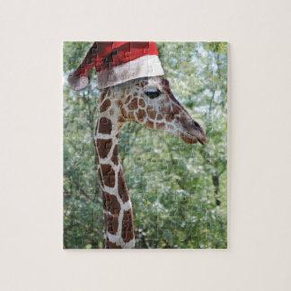 Jirafa del navidad rompecabezas con fotos