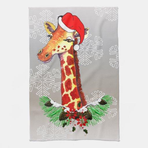 Jirafa del navidad toalla de cocina