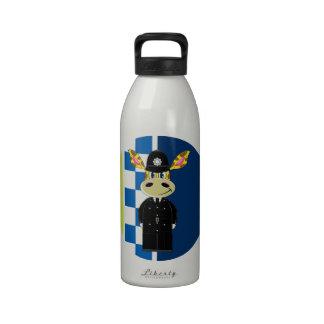 Jirafa del policía del dibujo animado botella de agua reutilizable