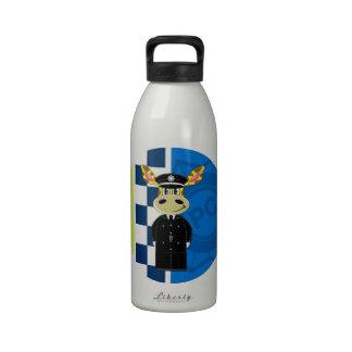 Jirafa del policía del dibujo animado botellas de agua reutilizables