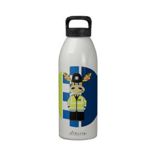 Jirafa del policía del dibujo animado botella de beber