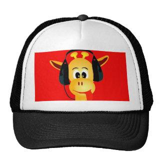 jirafa divertida con estilo cómico de los auricula gorros