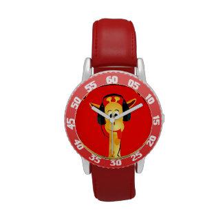 jirafa divertida con estilo cómico de los auricula relojes de mano