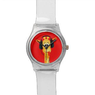 jirafa divertida con estilo cómico de los auricula relojes