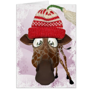 Jirafa divertida con la tarjeta de Navidad del
